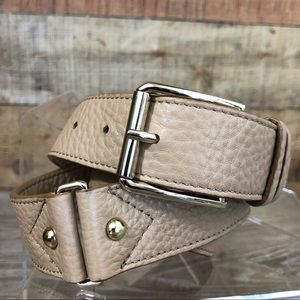 Cole Haan tan gold leather belt small square